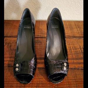 Stuart Weitzman Leather Embossed Peep Toe Pumps